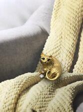 Estate TIFFANY & CO 18k Gold Playful Cat Diamond Emerald Brooch