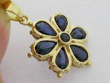 sPE038 Genuine 9K Yellow Gold NATURAL Sapphire DAISY Pendant Flower Blossom