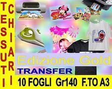 10 PEZZI  A3 42 X 29,7 140 GR EDIZ GOLD TRANSFER COTONE CHIARO STAMPA MAGLIETTE