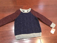 NWT Boys Sweater Cat & Jack 3T Blue Red Gray Knit Cable Raglan Sleeve