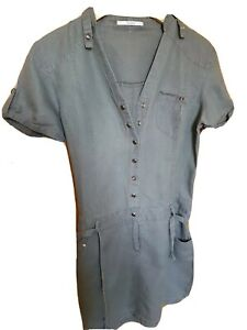 LINEN COTTON KHAKI DRESS SHORT SLEEVE BUTTONS S 10