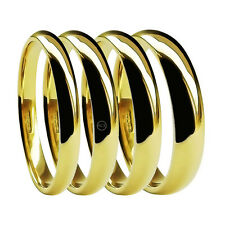 9ct Gelbgold mediumy Court Trauringe 2mm 3mm 4mm 5mm 6mm 8mm UK HM Bands