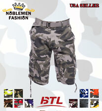 MEN CAMOFLAUGE CARGO WITH BELT CAMO TWILL SHORTS 32~42