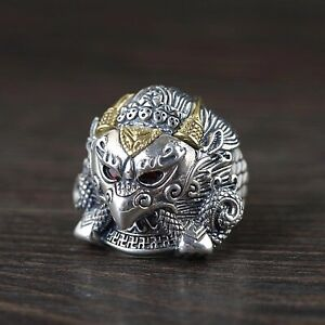 Solid 925 Sterling Silver Stamped Mens Heavy Mythical Eagle Ring Adjustable Size