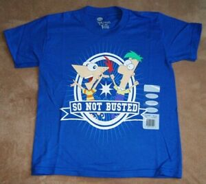 Disney PHINEAS & FERB *Not Busted* Blue S/S  T-Shirt Boys sz 6/7