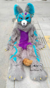 Husky Dog Fox Mascot Costume Long Fur Furry Costume Wolf Cosplay Fursuit #427