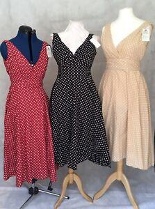 Cotton Polka Dot 50s Style Midi Tea Dress In Pink, Mint, Beige Red & Black