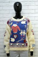 Woolrich Maglione Donna Taglia XL Cardigan Pullover Sweater Lana Vintage Beige