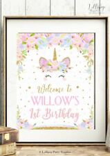 UNICORN WELCOME SIGN PARTY DECORATION PRINT 1ST FIRST BIRTHDAY FLORAL BABY SHOWE