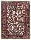 Vintage Tribal Heriz Rug, 7'x9', Ivory/Blue, Hand-Knotted Wool Pile