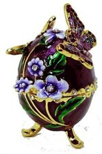 "Welforth Purple Egg Trinket Box with Butterfly, 2.75"" Tall"