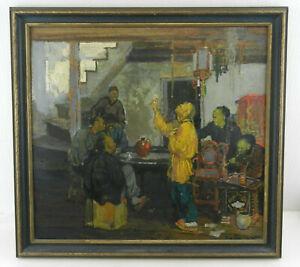 """Henry J.Soulen Original Painting 'In the Opium Den' on Board 22""""x 20.5"""" Framed"""