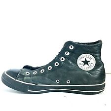 Men's Converse Chuck Taylor All-Star Leather High Top All BLACK Mens Sz 8 Wo: 10