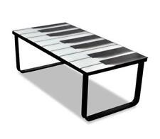 Modern Glass Coffee Side Table Rectangle White Black Piano Printing Metal Frame