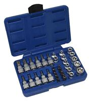 "A-TXSET34 Security Torx, Star E Socket Set 3/8"" Drive Tamper Tool Sockets Cr-v"