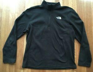 The North Face men's black lightweight polar fleece 3/4 zip jumper Winter L/XL