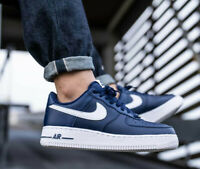 Nike Air Force 1 Trainers Low Top Shoes Navy Blue White All Sizes Retro Classic