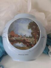 Vtg Crown Staffordshire GINGER JAR with John Constable painting, Blue vase/jar
