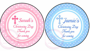 Personalised Boy Girl Blue Pink Christening Stickers Party Sweet Cone Cake Box
