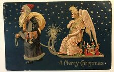 Brown Robe ~Santa Claus with Sled ~ Angel~Stars~Antique Christmas Postcard-a602