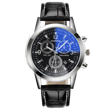 Luxury Fashion Faux Leather Mens Blue Ray Glass Quartz Analog Date Watches Lot