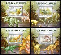 Burundi 2013 MNH set of 4 Sheets, Dinosaurs, Prehistoric Animals  (H3n)