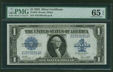 1923 $1 SILVER CERTIFICATE BANKNOTE FR-238 GEM UNCIRCULATED CERTIFIED PMG-65EPQ