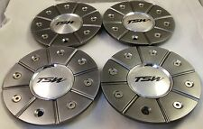 TSW Wheels Gray Custom Wheel Center Caps Set of 4 # CARLETON CAP-T119