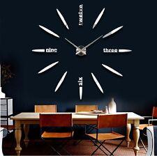 XXL Design Wanduhr 3D Wandtattoo Deko Edelstahl Spiegel Silber Chrom Luxus 012