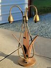 Mid Century Danish Wooden Leaf Tulip Lily Lamp Needs Work 2 lights are working