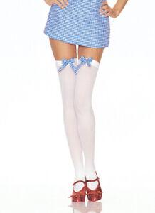 Leg Avenue Women Opaque White Hold-Up Stockings Gingham Bow Designer Hosiery New