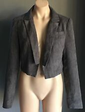 Stylish BARDOT Grey Suede Look & Feel Crop Jacket / Blazer Size 12