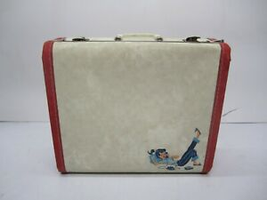 Vtg Hard Shell Childs Luggage Suitcase Overnight Bag Ponytail Girl Phone Decal