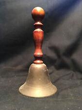 Old Vtg Antique Brass Wood Handle Ringing Bell
