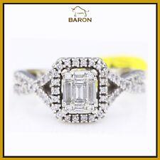 ESTATE BAGUETTE DIAMOND CLUSTER RING 14K WHITE GOLD SIZE 5.5 md