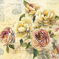 4 Tovaglioli di carta singolo DECOUPAGE. rose vintage, shabby chic - 552