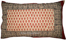 Floral Hand Block Beige Sham Pillow/Cushion Cover Cotton Throw Indian Decor