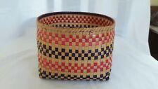 Vintage Eco Friendly Handwoven Palm Leaf Container Basket Multi Colour Stripe P1