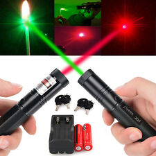 5mW 20 Miles 532nm Green Red&Laser Pointer Pen Visible Beam Light +18650+Charger