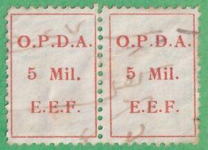 Palestine Brit Admin OPDA Ottoman Debt Revenue Barefoot #275a 5m pair 1924 cv$25