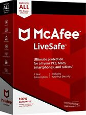 Mcafee LiveSafe 2018/2017 -1year Subscription-unlimited Device(pc/mac/andr/ios)