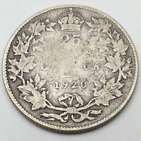 1920 Canada Twenty Five 25 Cents Quarter Silver Canadian Coin C263