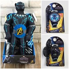 Marvel Avengers BLACK PANTHER BUNDLE! Pillow & Throw Blanket + Flashing Watch