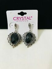 Pierced With Faceted Black Stone Crystal Avenue Silver Tone Dangle Earrings