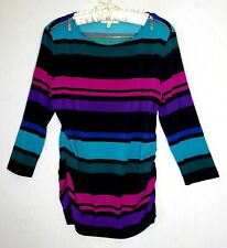 Chaus New York Blouse Sz L Women Multicolored Striped Stretch 3/4 Sleeves Casual