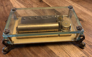 Reuge Music Box 72 Notes. Crystal Box Copper Dolphine Feet. Works Grea