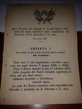 REGIO DECRETO 1887 DISP TRASF SEDE CONSOLATO REP SALVADOR DA S. SALVADOR a S.ANA
