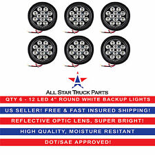 "4"" White 12 LED Round Backup Reverse Truck Light with Grommet & Pigtail - Qty 6"