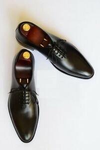 Handmade Mens Dress Oxfords Shoes, Mens Black leather formal shoes, Men shoes
