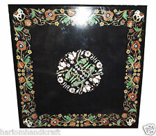 Black Marble Dining Table Top Rare Parrot Art Marquetry Inlay Mosaic Decor H2053